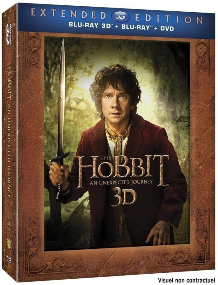 Le Hobbit - Un voyage inattendu (2012) (Langfassung, Blu-ray 3D (+2D) + 2 DVDs)