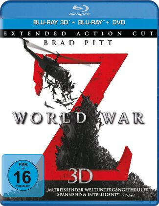 World War Z (2013) (Extended Action Cut, Blu-ray 3D + Blu-ray + DVD)