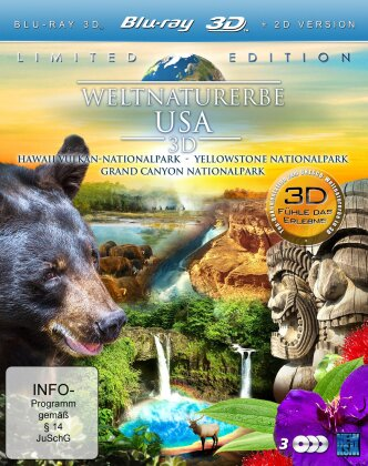 Weltnaturerbe USA - Hawaii Vulkan / Grand Canyon / Yellowstone (3 Blu-ray 3D (+2D))