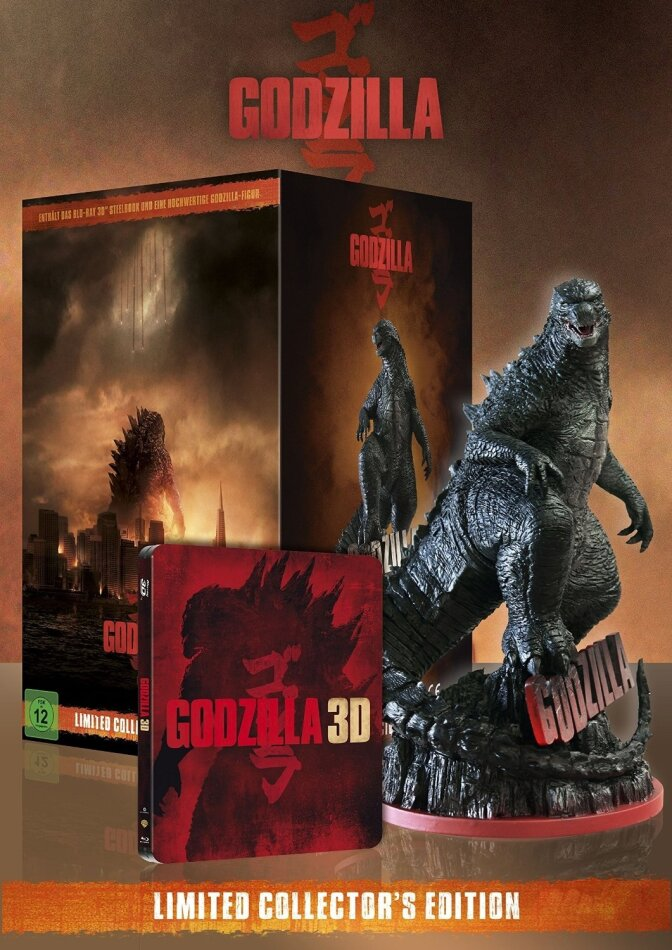 Godzilla - (Limited Collector's Edition Steelbook + Figur / Real 3D + 2D 2 Discs) (2014)