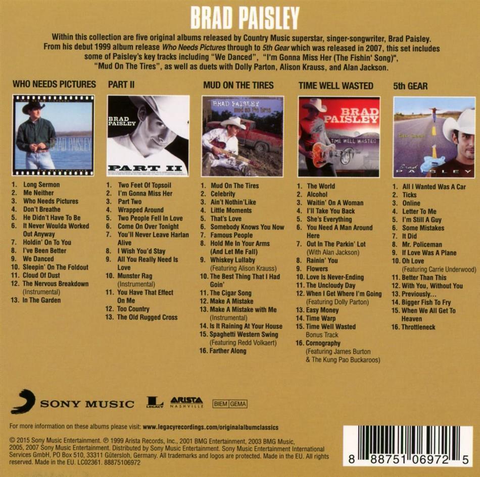 Original Album Classics 2 5 Cds By Brad Paisley Cede Com