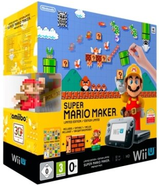 Wii U Konsole Premium + Super Mario Maker + Art book + Amiibo Figur (Limited Edition)