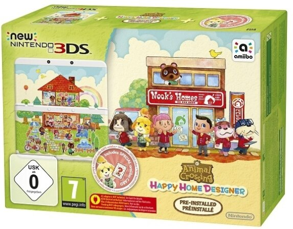 Nintendo New 3DS Konsole + Animal Crossing Happy Home + Coverplate