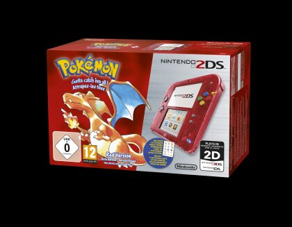 2DS Rot Transparent + Pokemon Rote Edition