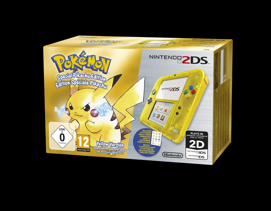 2DS Gelb Transparent + Pokemon Gelbe Edition: Special Pikachu Edition