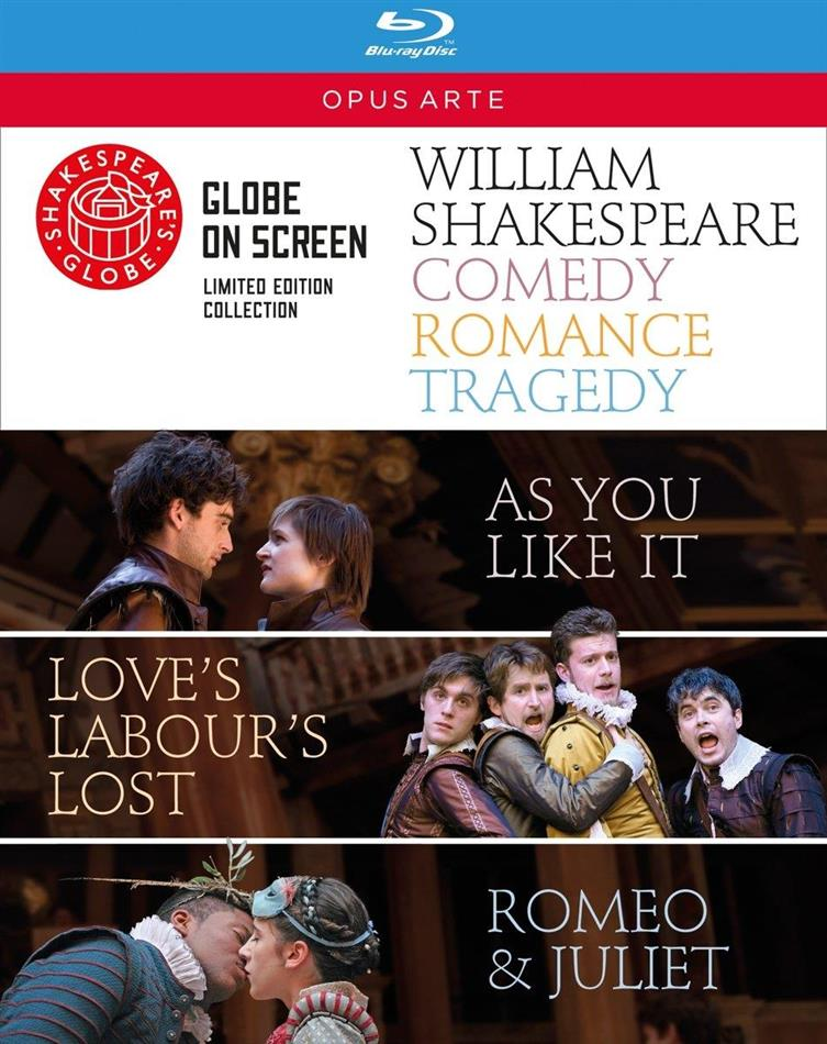 Shakespeare - Comedy, Romance, Tragedy (Opus Arte, Shakespeare's Globe, Limited Edition, 3 Blu-rays) - Globe Theatre