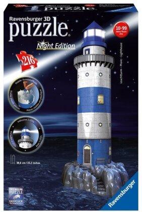 Night Edition: Leuchtturm bei Nacht - 3D Gebäude Puzzle