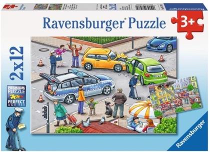 Mit Blaulicht unterwegs - 2 x 12 Teile Puzzle + Poster