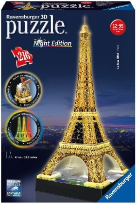 Night Edition: Eiffelturm bei Nacht - 3D Gebäude Puzzle