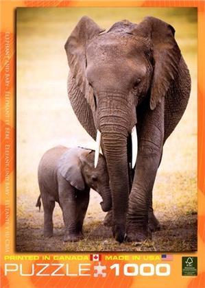 Elefant und Baby - 1000 Teile Puzzle