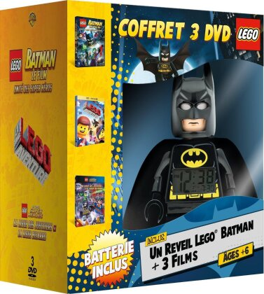 Coffret Lego Batman (inclus un reveil LEGO Batman, Édition Limitée, 3 DVD)