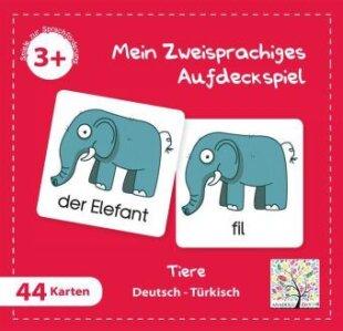 Mein Zweisprachiges Aufdeckspiel, Tiere - Türkisch (Kinderspiel)