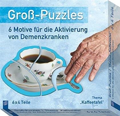 Gross-Puzzle Thema 'Kaffeetafel': 6 Motive für die Aktivierung von Demenzkranken - 6 x 6 Teile Puzzles