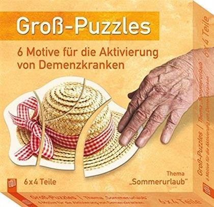 Gross-Puzzle Thema 'Sommerurlaub': 6 Motive für die Aktivierung von Demenzkranken - 6 x 6 Teile Puzzles