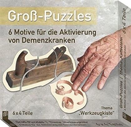 Gross-Puzzle Thema 'Werkzeugkiste': 6 Motive für die Aktivierung von Demenzkranken - 6 x 6 Teile Puzzles