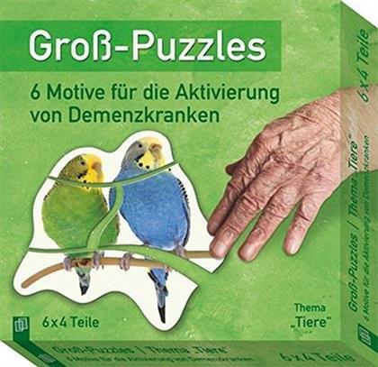 Gross-Puzzle Thema 'Tiere': 6 Motive für die Aktivierung von Demenzkranken - 6 x 6 Teile Puzzles