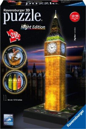 Night Edition: Big Ben bei Nacht - 3D Gebäude Puzzle