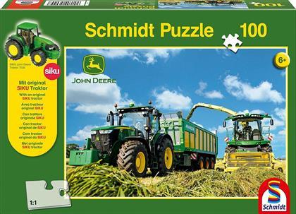 John Deere Traktor mit 8600i Feldhäcksler - 100 Teile Puzzle und Original SIKU Traktor