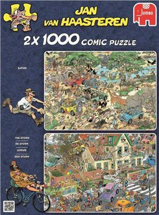 Jan van Haasteren: Der Sturm & Die Safari - Puzzle 2 x 1000 Teile