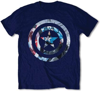 Marvel Comics T-Shirt Motiv - Captain America Knock Out / Navy [XL]
