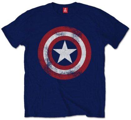 Captain America T-Shirt Motiv - Distressed Shield / marineblau [S]