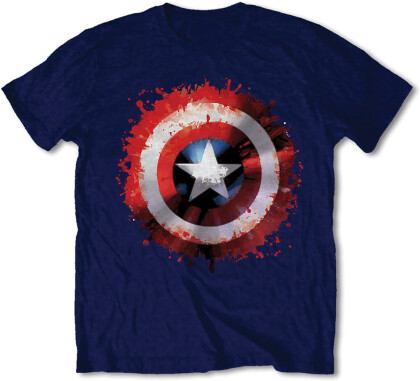 Marvel Comics T-Shirt Motiv - Captain America Splat Shield / Navy [XL]