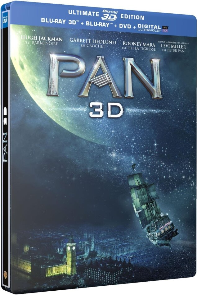 Pan (2015) (Steelbook, Ultimate Edition, Blu-ray 3D + Blu-ray + DVD)