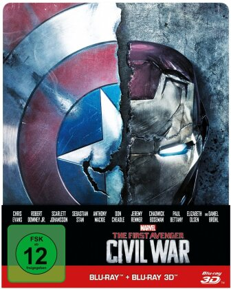 Captain America 3 - The First Avenger - Civil War (2016) (Limited Edition, Steelbook, Blu-ray 3D + Blu-ray)