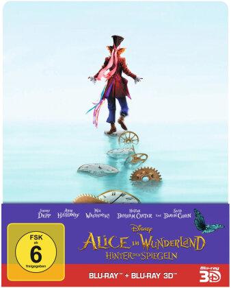 Alice im Wunderland 2 - Hinter den Spiegeln (2016) (Edizione Limitata, Steelbook, Blu-ray 3D + Blu-ray)