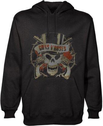 Guns N' Roses Unisex Pullover Hoodie - Distressed Skull