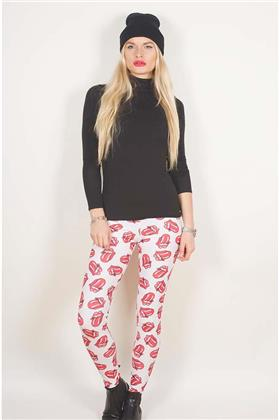 The Rolling Stones Ladies Fashion Leggings - Classic Tongue Repeat (LARGE to EX-LARGE ONLY) - Taglia L/XL