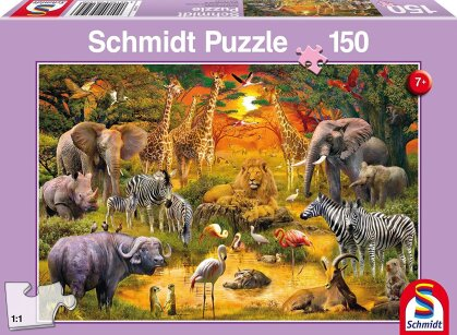 Tiere in Afrika - 150 Teile Puzzle