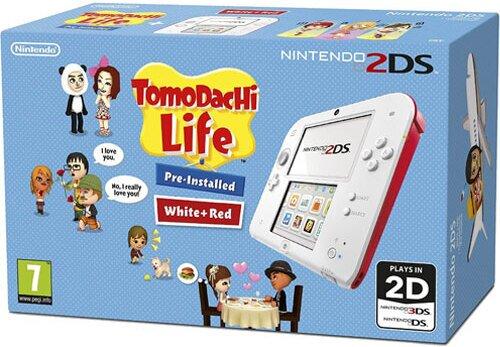 2DS Konsole weißrot + Tomodachi Life UK multi (Handbuch und Spiel)