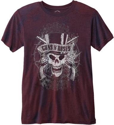 Guns N' Roses Unisex Burn Out T-Shirt - Faded Skull - Grösse S