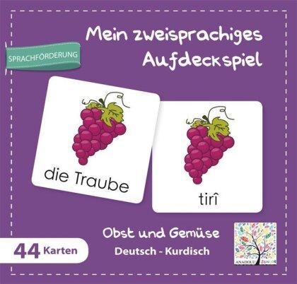 Mein zweisprachiges Aufdeckspiel, Obst und Gemüse - Deutsch-Kurdisch (Kinderspiel)