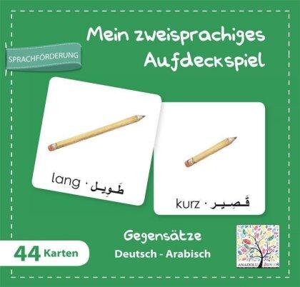 Mein zweisprachiges Aufdeckspiel , Gegensätze - Deutsch-Arabisch (Kinderspiel)