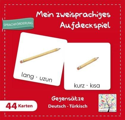 Mein zweisprachiges Aufdeckspiel - Gegensätze Deutsch-Türkisch (Kinderspiel)