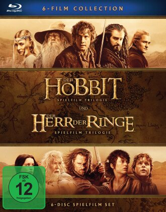 Der Hobbit + Der Herr der Ringe - Spielfilm Trilogien (Kinoversion, 6 Blu-rays)