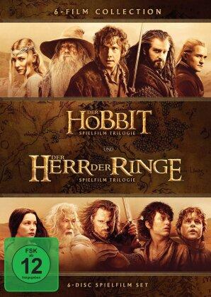 Der Hobbit + Der Herr der Ringe - Spielfilm Trilogien (Kinoversion, 6 DVDs)