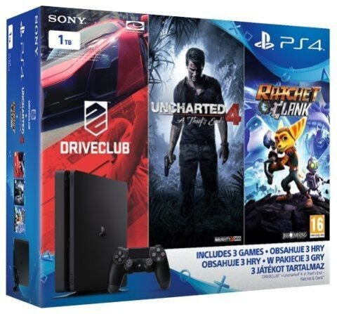 Sony PS4 1TB SLIM + Unchart.4 + Driveclub + Ratched & Clank D-Chassis