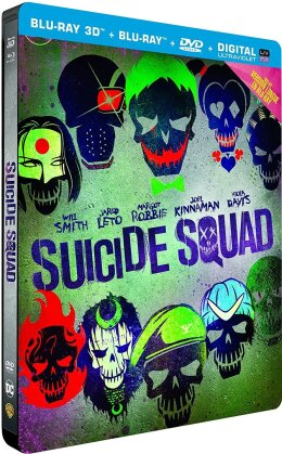 Suicide Squad (2016) (Langfassung, Kinoversion, Limited Edition, Steelbook, Blu-ray 3D + 2 Blu-rays + DVD)
