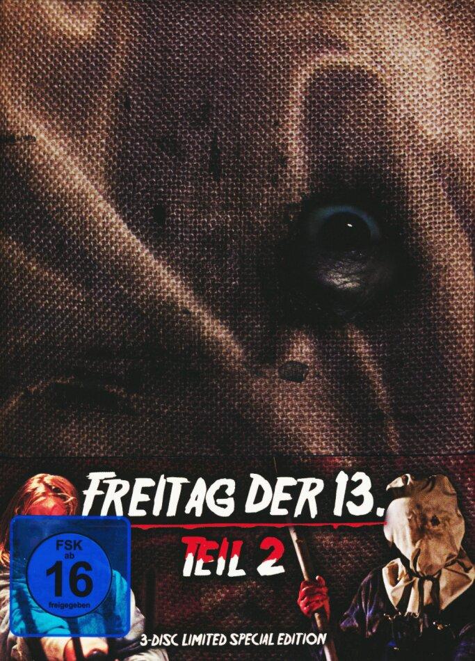 Freitag der 13. - Teil 2 (1981) (Wattiert, Limited Special Edition, Mediabook, Blu-ray + 2 DVDs)