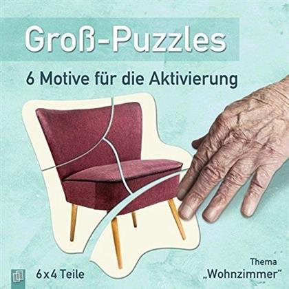 """Gross-Puzzle Thema """"Wohnzimmer"""": 6 Motive für die Aktivierung von Demenzkranken - 6 x 6 Teile Puzzles"""
