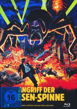 Angriff der Riesen-Spinne (1975) (Cover B, Limited Edition, Mediabook, Uncut, Blu-ray + 2 DVDs + CD)