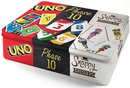 Kartenspiel-Klassiker in Metalldose - UNO, Phase 10 und Snappy Dressers