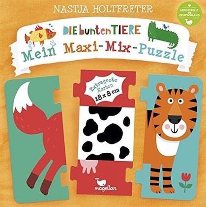 Die bunten Tiere - Mein Maxi-Mix-Puzzle - 8 Maxi-Tierpuzzle aus je drei Teilen, 136 Kombinationsmöglichkeiten