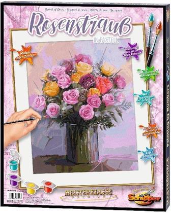 Rosenstrauß in Pastellfarben - Spezialkarton mit Leinenstruktur, Bildgröße: 50 x 40 cm, Acrylfarben, Pinsel. Ohne Rahmen!