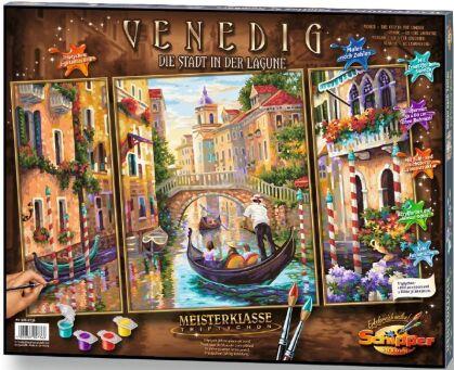 Venedig - Die Stadt in der Lagune - Spezialkarton mit Leinenstruktur, dreiteiliges Bild: Gesamtbildgröße: 50 x 80 cm (1 Bild 50 x 40 cm, 2 Bilder je 50 x 20 cm), Acrylfarben, Pinsel. Mit Bauanleitung für rahmenlose Bildträger. Ohne Rahmen!