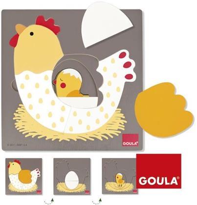 Huhn - 7 Teile Goula Holzpuzzle (3 Stufen)