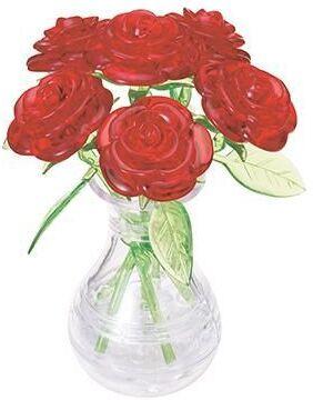 6 rote Rosen in der Vase - 43 Teile